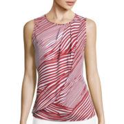 Liz Claiborne® Sleeveless Printed Overlay Blouse