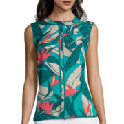 Liz Claiborne® Sleeveless Piped Shirt