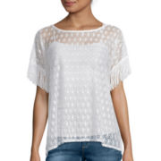 i jeans by Buffalo Short-Sleeve Crochet Fringe Top