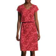 Liz Claiborne® Short-Sleeve Ruched V-Neck Dress - Tall