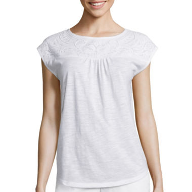 jcpenney.com | Liz Claiborne® Sleeveless Embellished-Yoke Tee - Tall