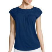Liz Claiborne® Sleeveless Embellished Yoke Tee