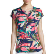 Liz Claiborne® Printed V-Neck Henley Tee - Tall