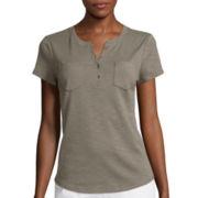 Liz Claiborne® Short-Sleeve Cotton Henley Tee