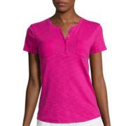 Liz Claiborne® Short-Sleeve Slub Henley Tee - Tall