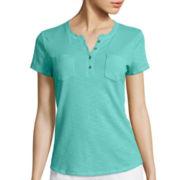 Liz Claiborne® Short-Sleeve Print Henley Tee - Tall
