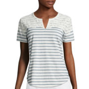 Liz Claiborne® Short-Sleeve Split Neck Lace Tee
