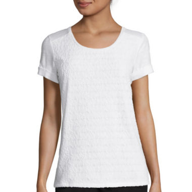 jcpenney.com | Liz Claiborne® Short-Sleeve Cuffed Lace Tee