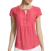 Liz Claiborne® Short-Sleeve Embellished Pintuck Peasant Top
