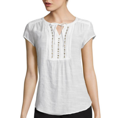jcpenney.com | Liz Claiborne® Short-Sleeve Embellished Pintuck Peasant Top