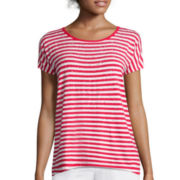 Liz Claiborne® Striped Embellished Tee
