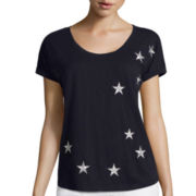 Liz Claiborne® Short-Sleeve Embroidered Star Top