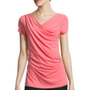 Worthington® Cap-Sleeve Drape-Neck Top