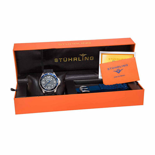 Stuhrling Mens Black Strap Watch-Sp14976