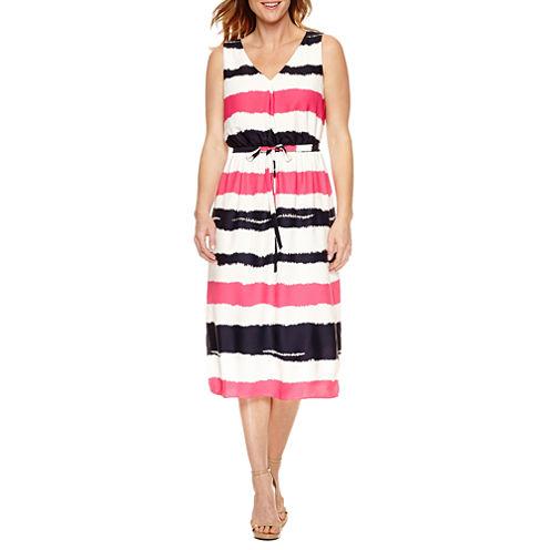 Black Label by Evan-Picone Sleeveless Stripe Fit & Flare Dress