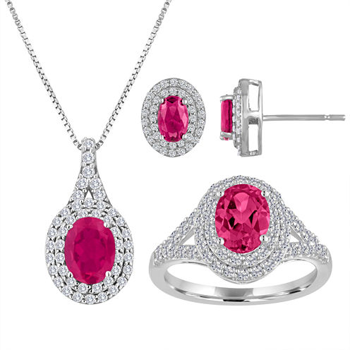 Lab-Created Ruby & White Sapphire Double Halo Ring in Sterling Silver