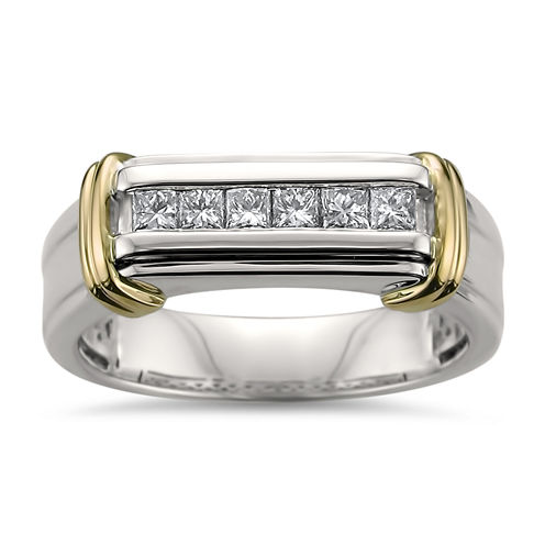 Mens 1/2 CT. T.W. Genuine White Diamond 14K Gold Wedding Band