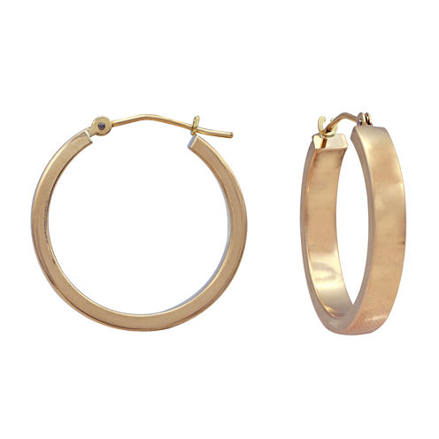 14K Yellow Gold 25mm Tube Hoop Earrings