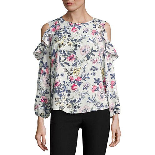 by&by Short Sleeve U Neck Floral Blouse-Juniors