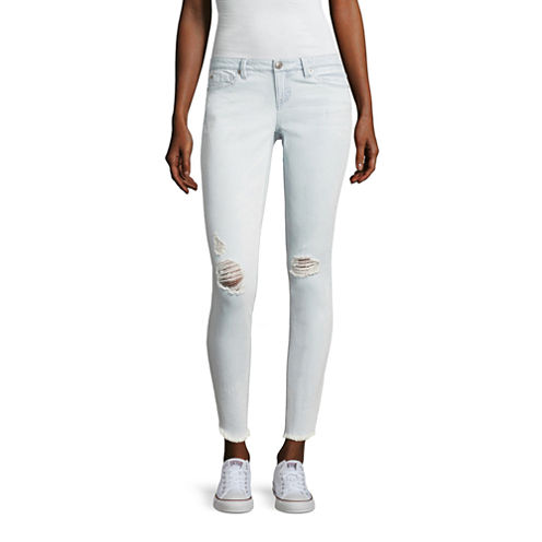 Almost Famous Angled Fray Hem Skinny Jeans-Juniors