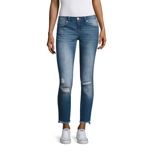 Almost Famous Angled Frey Hem Skinny Jeans-Juniors