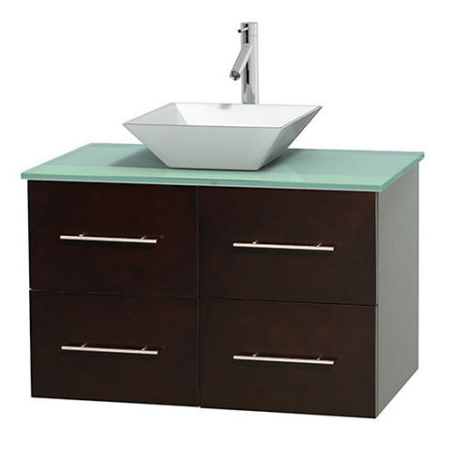 Centra 36 inch Single Bathroom Vanity; Green GlassCountertop; Pyra White Porcelain Sink; and No Mirror