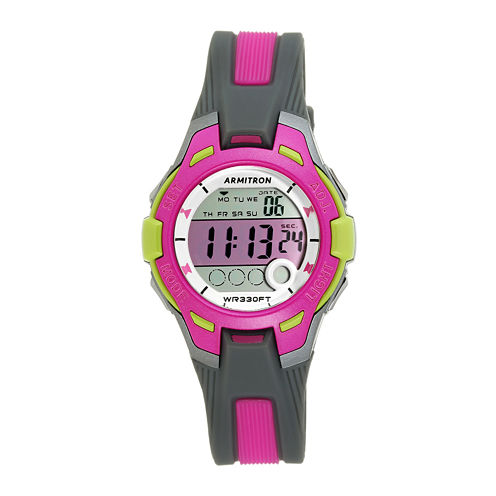 Armitron® Womens Pro Sport Gray and Pink Digital Strap Watch