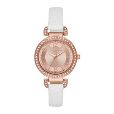 jcpenney.com | Liz Claiborne® Womens Rose Gold Tone Sunray Dial White Strap Watch