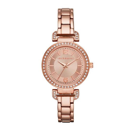 Liz Claiborne® Womens Crystal Accent Rose-Tone Sunray Dial Bracelet Watch