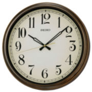 Seiko® Splash Resistance Outdoor Wall Clock Brown Qxa548blh