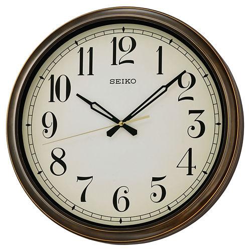 Seiko® Splash Resistance Outdoor Wall Clock BrownQxa548blh