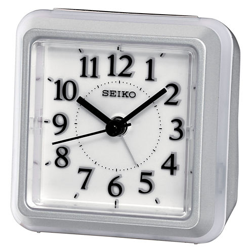 Seiko® Bedside Alarm With Flashing Dial Light During Alarm Silver Tone Clock Qhe090slh