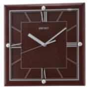 Seiko® Quiet Sweep Second Hand Square Wall Clock Brown Qxa602blh