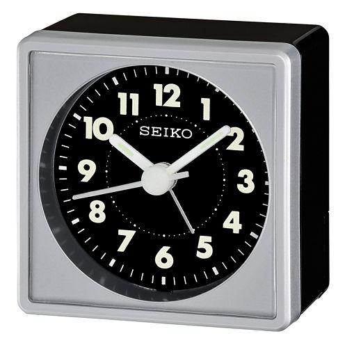 Seiko® Bedside Alarm With Beep Alarm Silver ToneClock Qhe083slh
