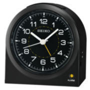 Seiko® Black Bedside Beep Alarm Clock With Dial Light and Snooze Qhe085klh