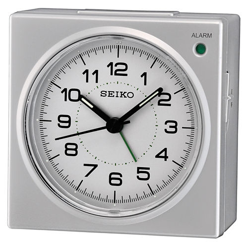 Seiko® Silver-Tone Bedside Beep Alarm Clock with Snooze Qhe086slh