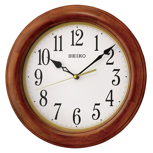 Seiko® Dark Brown Wooden Decorative Wall Clock Qxa522blh