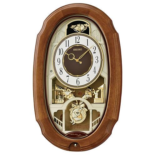 Seiko® Melodies In Motion With 12 Hi-Fi MelodiesAnd Swinging Pendulum Clock Qxm479brh