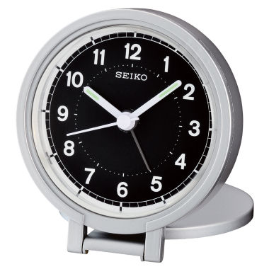 jcpenney.com | Seiko® Silver Tone Travel Alarm With Folding Stand Clock Qht011alh