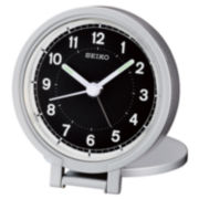 Seiko® Silver Tone Travel Alarm With Folding Stand Clock Qht011alh