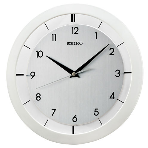 Seiko® Wall Clock With Brushed Metal Dial And White Case Qxa520wlh