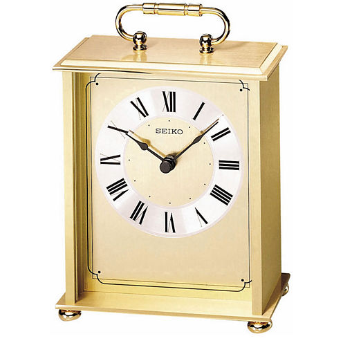 Seiko® Desk And Table Carriage-Style Gold Tone Clock Qhg102gl