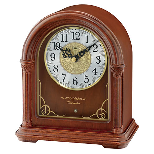 Seiko® Brown Wooden Musical Desk/Table Clock Qxw244blh