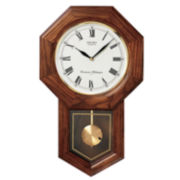 Seiko® Wall Pendulum Schoolhouse Clock With Solid Oak Case Qxh102bc