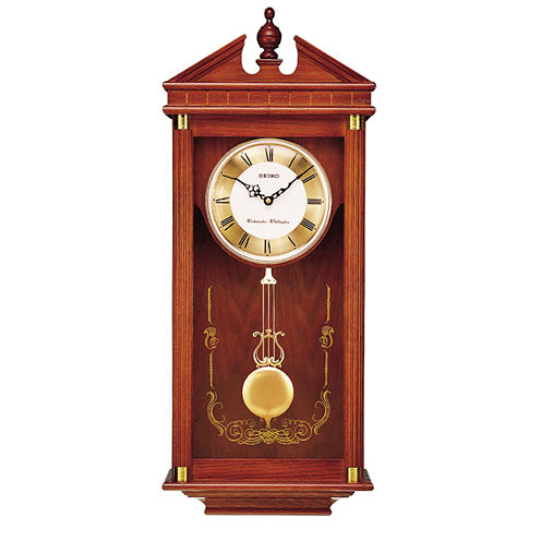 Seiko® Solid Oak Chime Wall Clock With Pendulum Qxh107blh