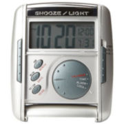 Seiko® Get Up And Glow Travel Alarm With Snooze Silver Tone Mini Clock Qhl004slh