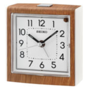 Seiko® Light Brown Alarm Clock With White Dial Qhe139blh