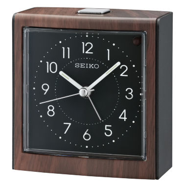 jcpenney.com | Seiko® Dark Brown Alarm Clock With Black Dial Qhe139zlh