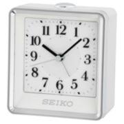Seiko® Silver-Tone Alarm Clock with White Case Qhe142wlh