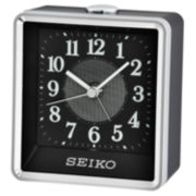Seiko® Silver-Tone Alarm Clock with Black Case Qhe142klh
